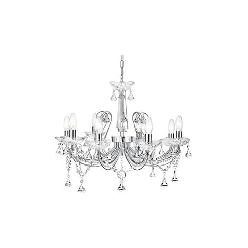 Searchlight Electric Lafayette 1398-8CC Chrome And Crystal Chandelier