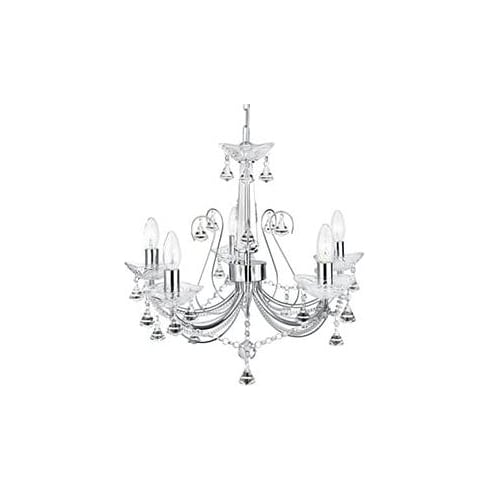 Searchlight Electric Lafayette 1395-5CC Chrome And Crystal Chandelier