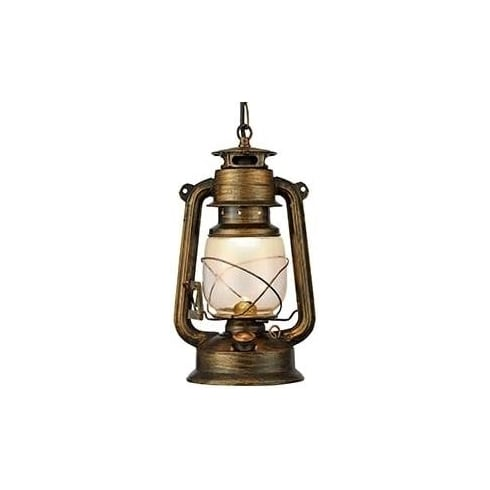 Searchlight Electric Lantern 3841-1BG Black Gold And Glass Lantern