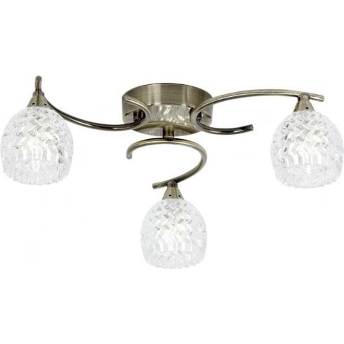Endon Boyer BOYER-3AB Antique Brass & Glass Semi Flush Ceiling Light
