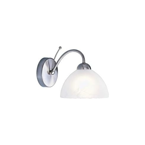 Searchlight Electric Milanese 1131-1SS Brushed Silver With Alabaster Glass Wall Light