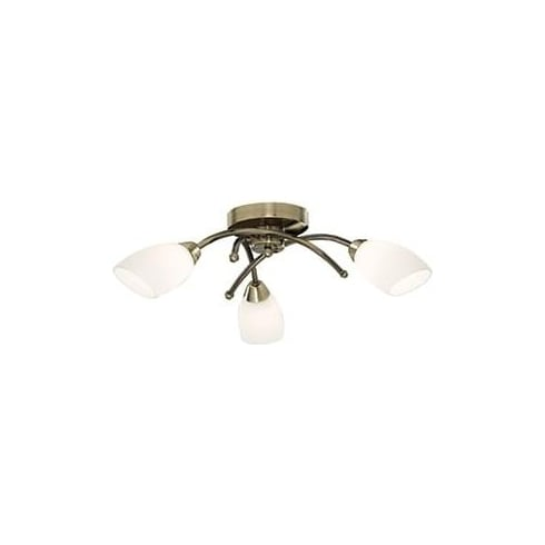 Searchlight Electric Opera 8183-3AB Antique Brass With Opal Glass Semi Flush Ceiling Light