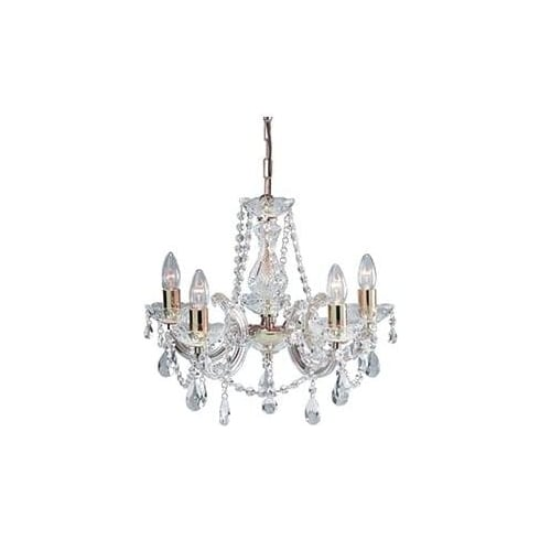 Searchlight Electric Marie Therese 699-5 Polished Brass Crystal Pendant Ceiling Light