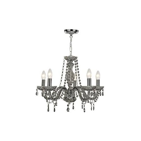 Searchlight Electric Marie Therese 8695-5GY Grey And Acrylic With Glass Pendant Ceiling Light