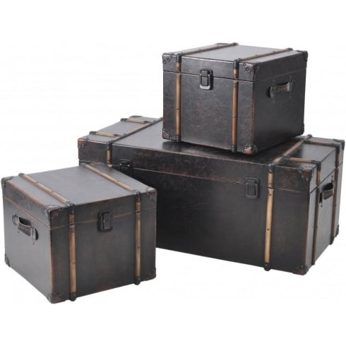 Libra Company Albany Tan Trunks 213487 Set of Three Antique Traditional Cases