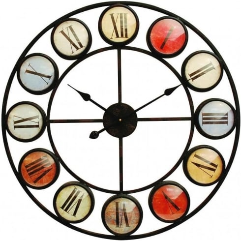Libra Company Smarty Iron Clock 137747 Roman Numerals Colour Domed Glass
