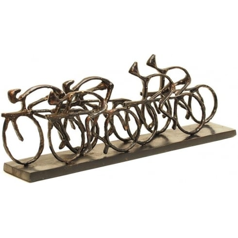 Libra Company Cyclists Sculpture 137104 Rustic Antique Metal Bronze Finish