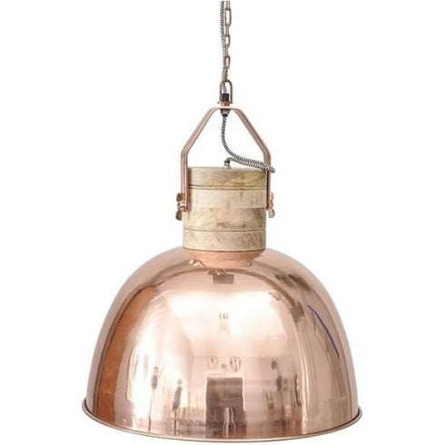 Libra Company Merle 037814 Large Copper And Wood Pendant Ceiling Light