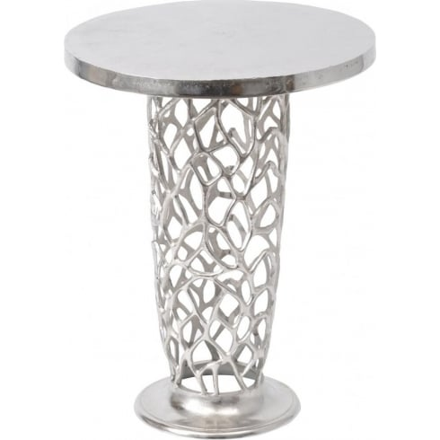 Libra Company Romano Coral 431000 Nickel textured Pedestal Side Table