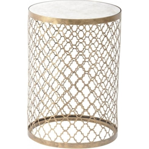 Libra Company Empire Iron 213494 Quatrefoil Round Lamp Table with Mirror Top
