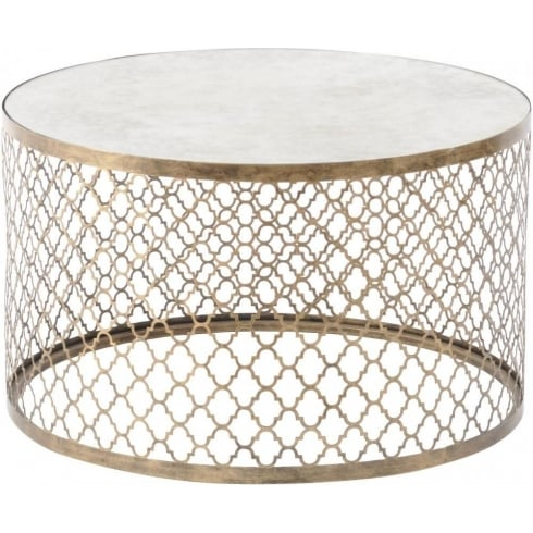 Libra Company Empire Iron 213493 Quatrefoil Round Coffee Table with Mirror Top