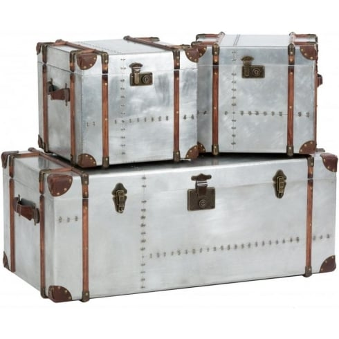 Libra Company Bardem 233053 Set of Three Antique Silver Metal Trunk Cases