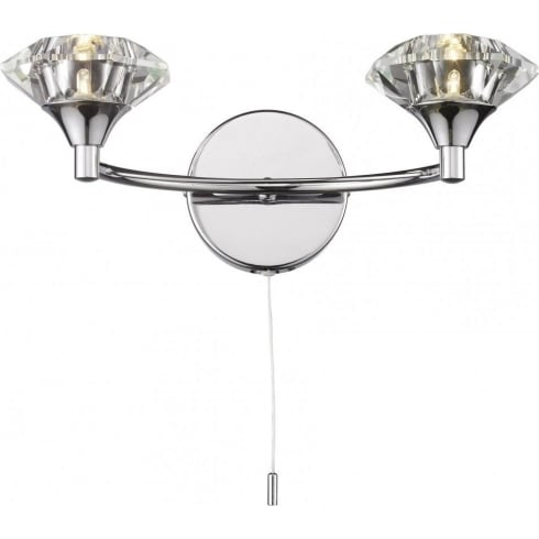Dar Luther LUT0950 Polished Chrome 2 Light Wall Fitting