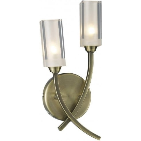 Dar Morgan MOR0975 Antique Brass 2 Light Wall Fitting