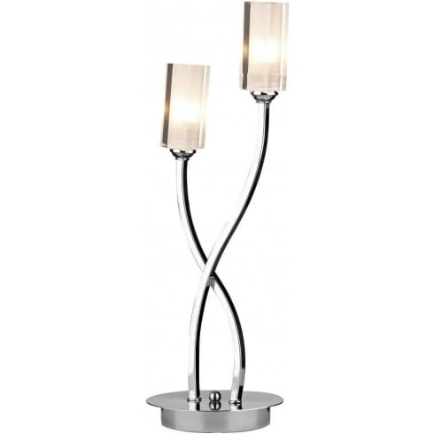 Dar Lighting Morgan MOR4050 Polished Chrome 2 Light Table Lamp