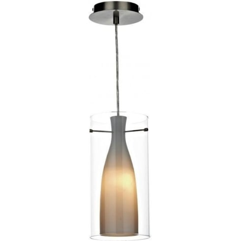 Dar Lighting Boda BOD8646 Satin Chrome Double Glass Pendant