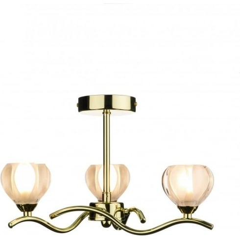 Dar Lighting Cynthia CYN0340 Polished Brass 3 Light Semi Flush Ceiling Fitting