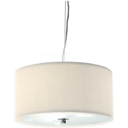 Dar Lighting Zaragoza ZAR1033 Cream Fabric Shade 3 Light Pendant Small