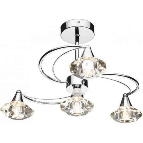 Dar Lighting Luther LUT0450 Polished Chrome Semi Flush 4 Light Ceiling Fitting