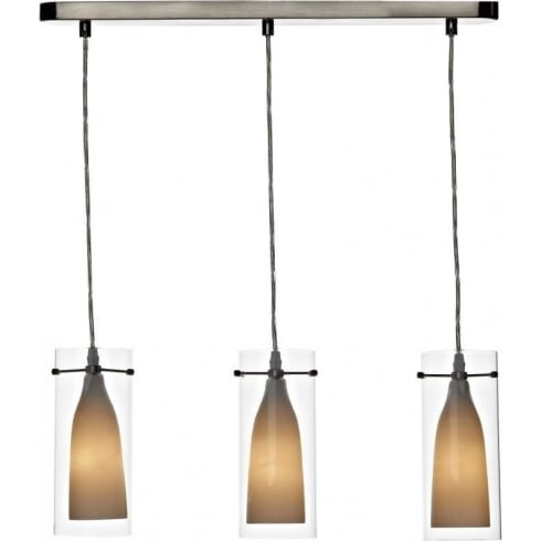 Dar Lighting Boda BOD0346 Satin Chrome 3 Light Double Glass Pendant