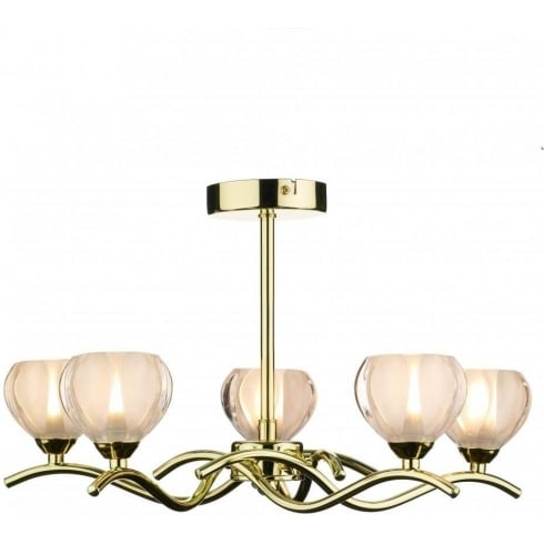 Dar Lighting Cynthia CYN0540 Polished Brass 5 Light Semi Flush Ceiling Fitting