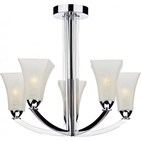 Dar Lighting Arlington ARL0550 Polished Chrome 5 Light Semi Flush Ceiling Fitting
