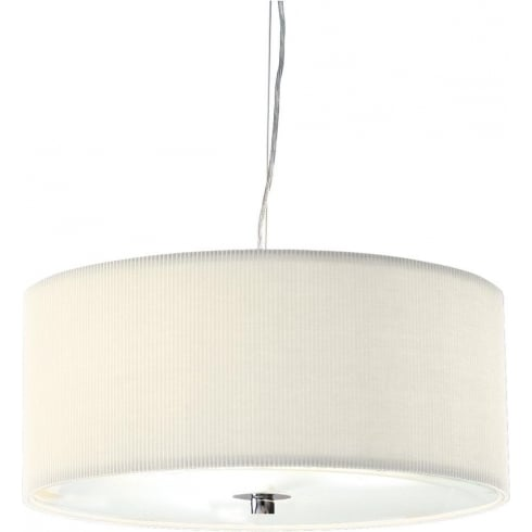 Dar Lighting Zaragoza ZAR1733 Cream Fabric Shade 3 Light Pendant