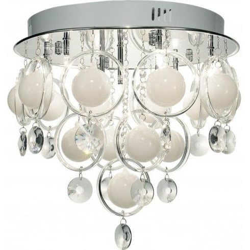Dar Lighting Cloud CLO1350 Opal White Polished Chrome 9 Light Baubles Ceiling Pendant