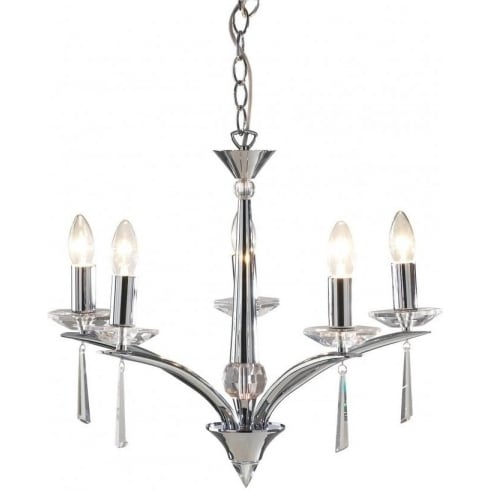 Dar Lighting Hyperion HY0550 Polished Chrome/Crystal Sconce 5 Light Dual Mount Pendant
