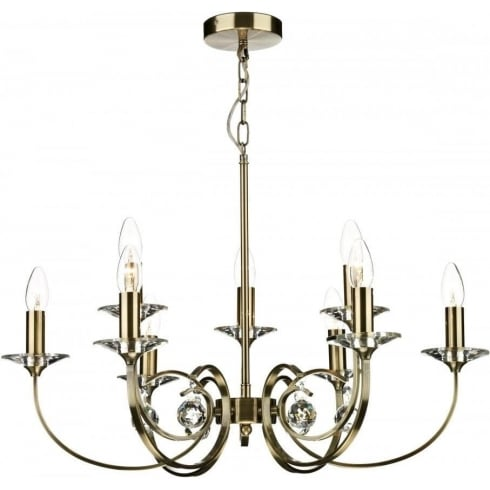 Dar Lighting Allegra ALL1375 Antique Brass 9 Light Pendant