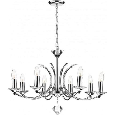 Dar Lighting Medusa MED0850 K9 Polished Chrome Crystal 8 Light Pendant