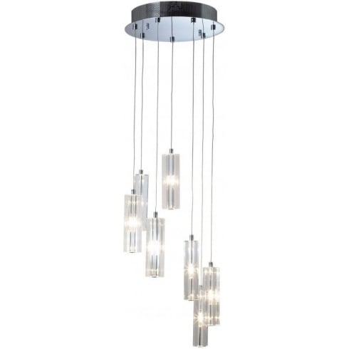 Dar Lighting Galileo GAL3450 Polished Chrome 7 Light Cluster Pendant