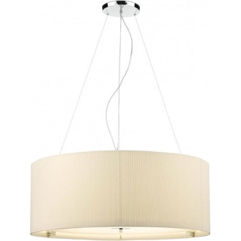 Dar Lighting Zaragoza ZAR0633 Cream Polished Chrome 6 Light Pendant