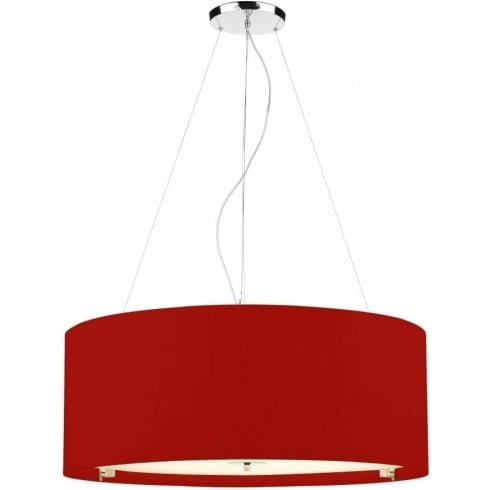 Dar Lighting Zaragoza ZAR0625 Red Polished Chrome 6 Light Pendant