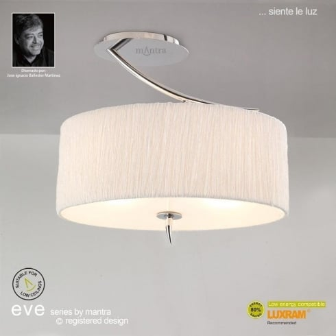 Mantra Spain Eve Semi M1132 Polished Chrome Twin Ceiling Light with White Shade