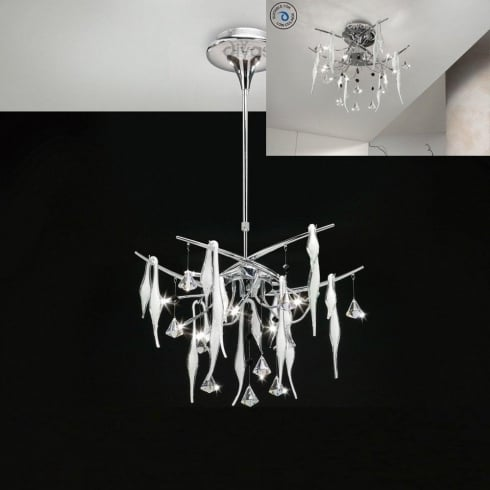 Diyas UK Cygnet IL-IL50411 Chrome White Glass and Crystal Ten Light Flush Telescopic Ceiling Light