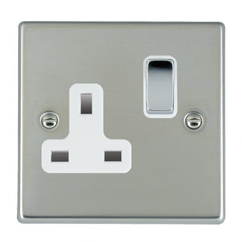 Hamilton Litestat Hartland 73SS1BC-W Bright Chrome 1 gang 13A Double Pole Switched Socket