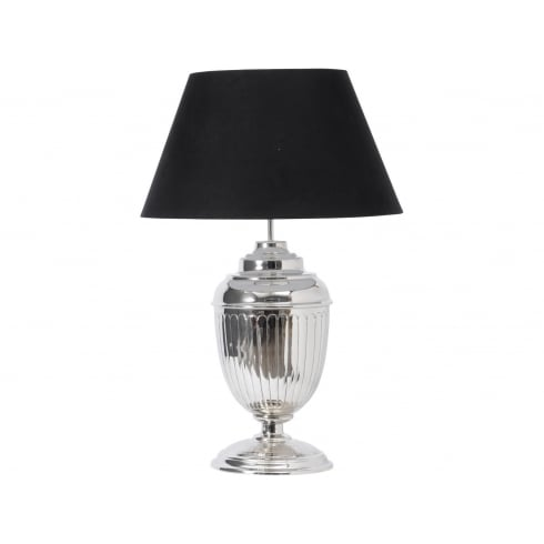 Theia 700074 Nickel Urn Table Lamp with Black Lamp Shade
