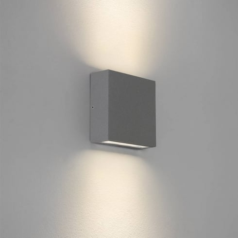 Astro Lighting Elis Twin 7204 Square Painted Silver Exterior LED Up and Down Surface Wall Light