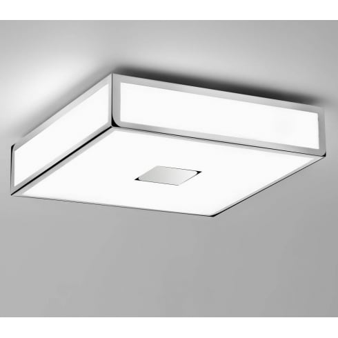 Astro Lighting Mashiko 300 0584 Square Flush Bathroom Ceiling Light Chrome Opal IP44