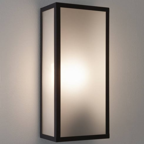 Astro Lighting Messina Frosted 7187 Black Frosted Glass Outside Surface Wall Light IP44