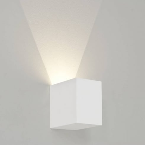 Astro Lighting Parma 100 7019 White Cube Plaster LED Surface Wall Light Up or Down Light