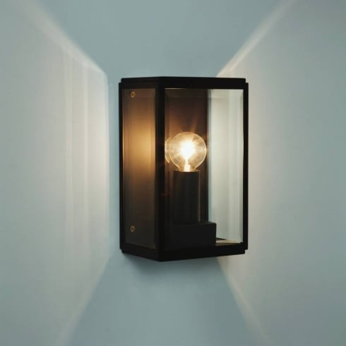 Astro Homefield 130 Outdoor Surface Wall Light Black with Clear Glass