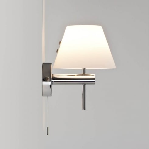 Astro Roma Switched Wall Light Polished Chrome and Opal Diffuser