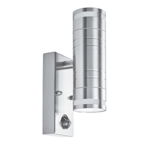 Searchlight Electric 1318-2 Stainless Steel 2 Light Outdoor Surface Wall Light with Motion Sensor