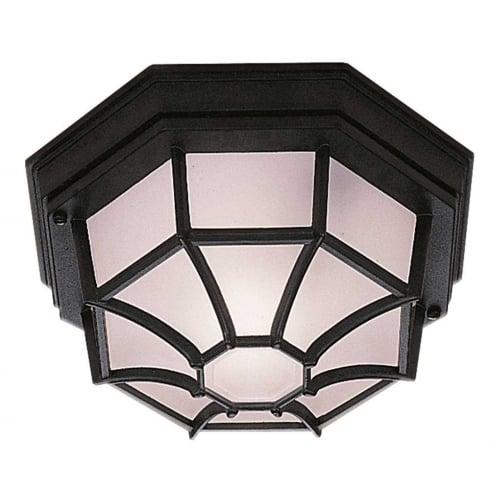 Searchlight Hexagonal Flush Outdoor Ceiling Light 2942BK Black