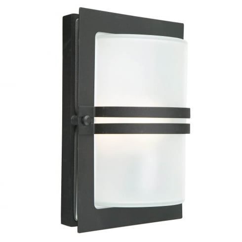 Elstead Lighting Basel E27 Black Frosted BASEL E27 BLK F Exterior Wall Light