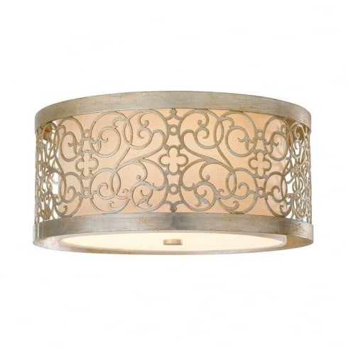 Elstead Arabesque Flush Ceiling Light Silver
