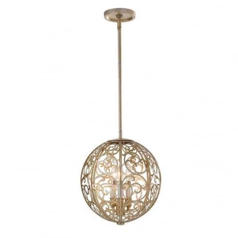 Elstead Arabesque 3 Light Pendant Ceiling Light Silver