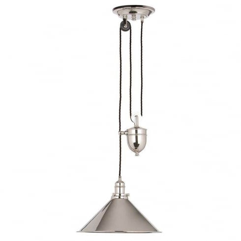 Elstead Provence 1 Light Rise and Fall Pendant Polished Nickel